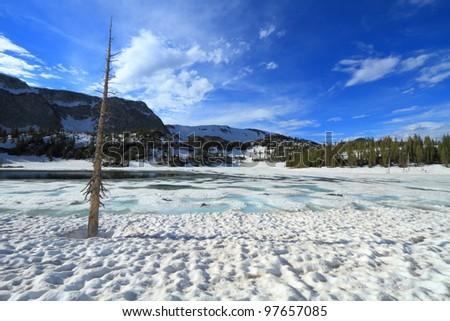 Frozen lakes in the Snowy Range Mountains of Wyoming - stock photo