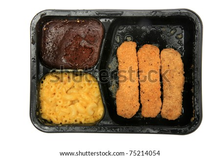 "frozen microwaveable ""tv dinner"" ""Chicken Fingers Meal"" with ""Breaded Chicken Patties"", ""Macaroni & Cheese Sauce"", and a ""Fudge Brownie"" isolated on white with room for your text - stock photo"
