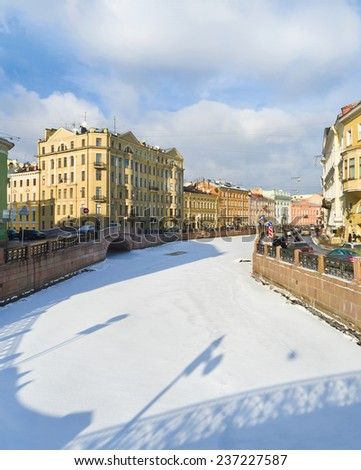 Frozen Moika river in St.-Petersburg Russia - stock photo