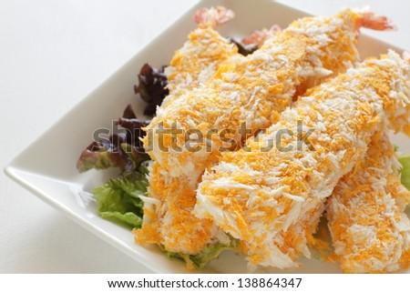 frozen prawn with coating on white dish  for Japanese deep fried prawn - stock photo