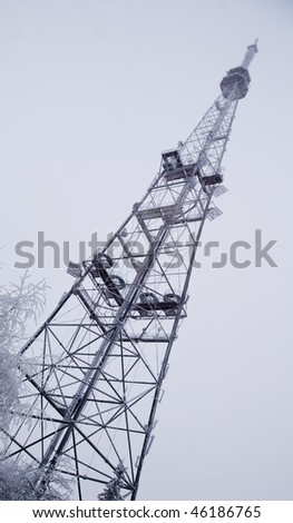 Frozen Radio Tower Of Estonia Frozen, Covered With Ice Crystals - stock photo