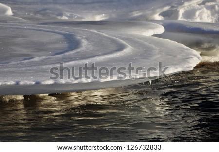 Frozen river detail - stock photo