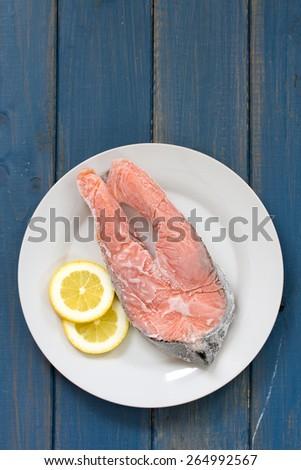 frozen salmon - stock photo