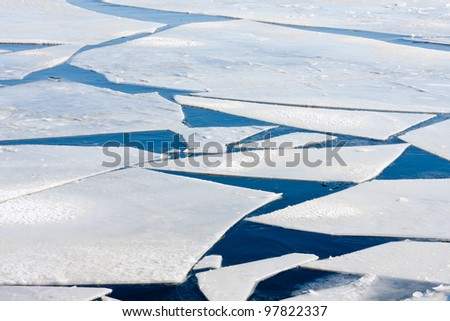 Frozen sea with big ice floes - stock photo