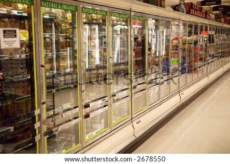 frozen section of supermarket - stock photo