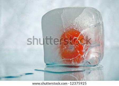 frozen tomato - stock photo