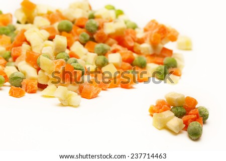 Frozen vegetables ,  Mixed frozen vegetables on white background - stock photo