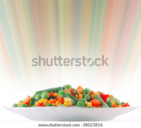 Frozen vegetables with blurry abstract background - stock photo