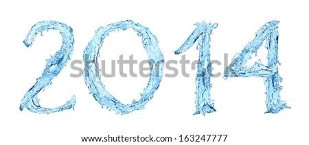 frozen water. Happy New Year 2014 - stock photo