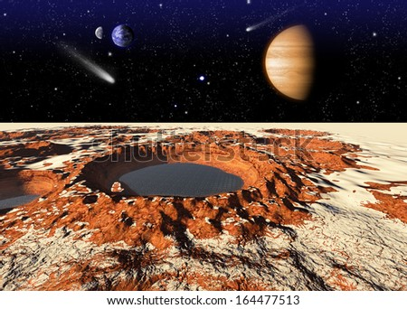 Frozen water on the Mars. Elements of this image furnished by NASA - stock photo