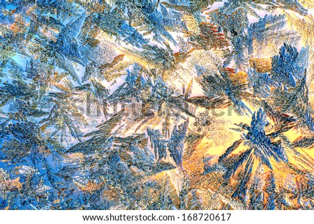 Frozen windows colored - stock photo