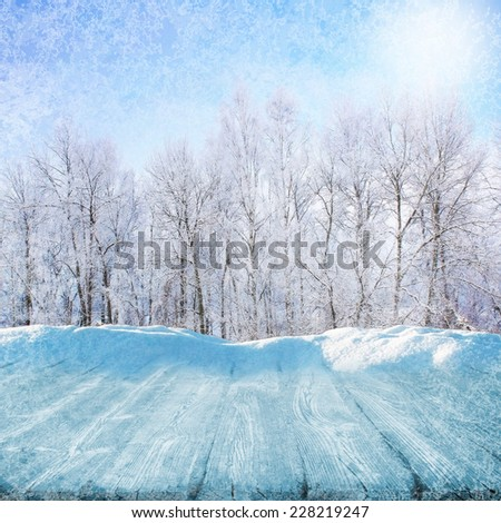 Frozen wooden path in winter sunny day - stock photo