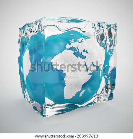 frozen world or ice age - stock photo