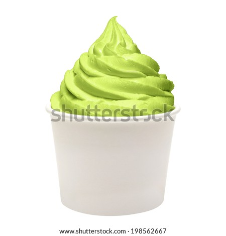 Frozen yogurt with green tea in paper cup on white background - stock photo