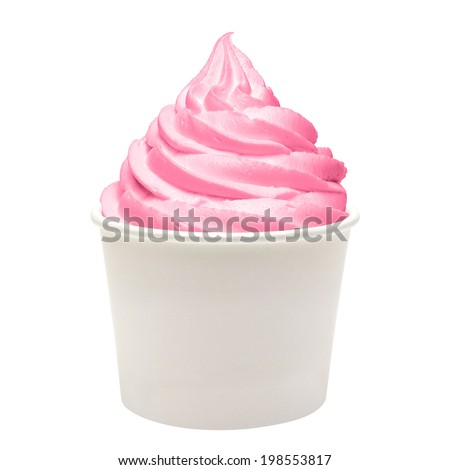 Frozen yogurt with strawberry in blank paper cup on white background - stock photo