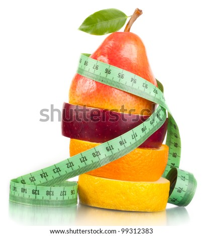 Fruit and measurement. A slender figure. - stock photo