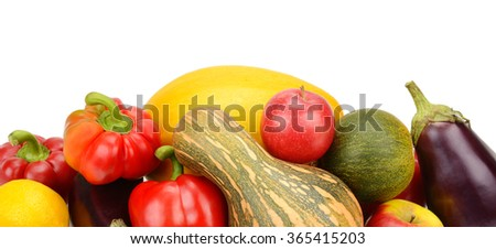 fruit and vegetable isolated on white background - stock photo