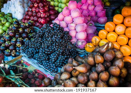 fruit and vegetable market in Lombok, Indonesia - stock photo