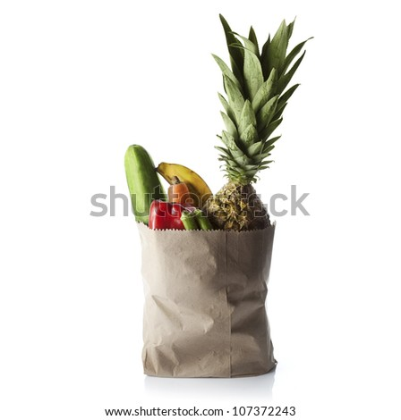 Fruit and vegetables bag - stock photo