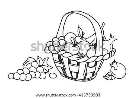 fruit basket: apple, grape, banana, pomegranate. Hand drawn, doodle, sketch  design elements. Isolated on a white background.   - stock photo