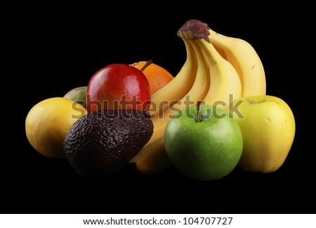 Fruit Basket isolated on black - stock photo