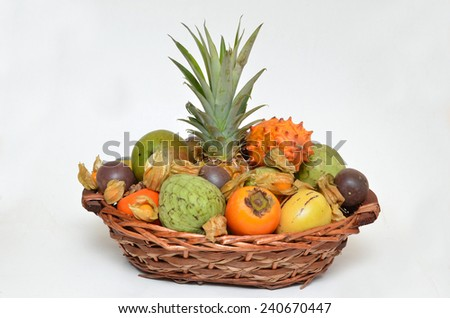 Fruit basket, mixed fruits - stock photo