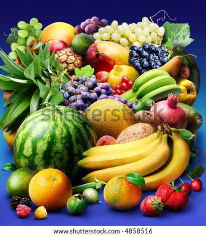 fruit & berries; Objects on blue background - stock photo