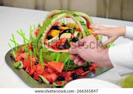 fruit bowl of watermelon - stock photo