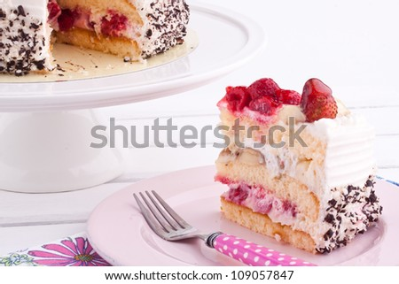 fruit cake with cream - stock photo