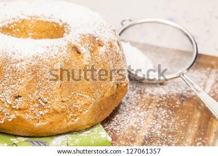 Fruit cake with powdered sugar. Fruitcake for the holidays. Shallow DoF - stock photo