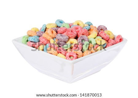 fruit cereal loops colorful in bowl isolated on white background - stock photo