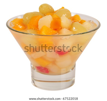 Fruit cocktail. Isolated - stock photo