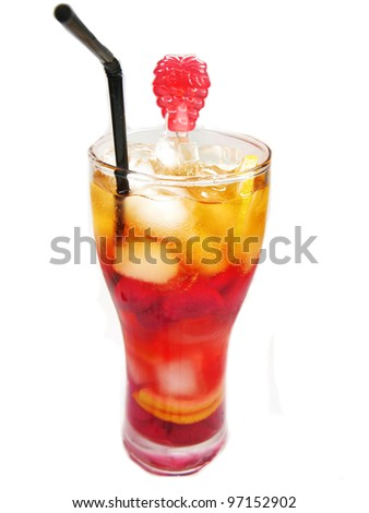 fruit cocktail juice with ice and raspberry - stock photo