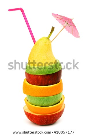 Fruit cocktail of sliced fruits stack isolated on white - stock photo
