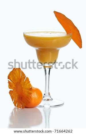 Fruit cocktail on white - stock photo