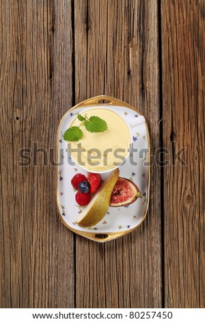 Fruit curd and fresh fruit  - stock photo