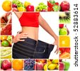 Fruit diet. Fruits. Apple, banana, orange, kiwi, salad - stock photo