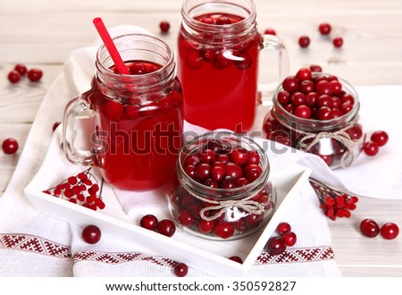 fruit drink on white table - stock photo