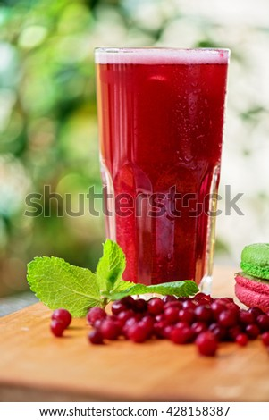 fruit drink with cranberries - stock photo