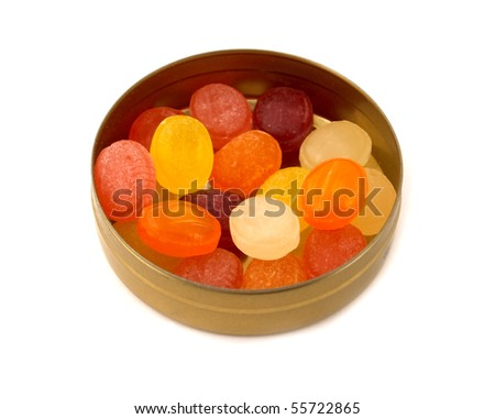 fruit drops in box isolated on white - stock photo