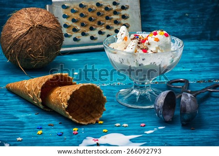 fruit ice cream in  bowl.The image is tinted in vintage style.Shallow DOF - stock photo