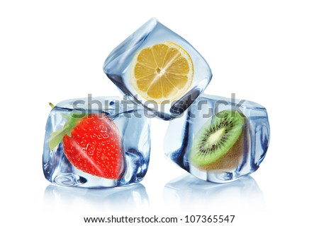 Fruit in Ice cubes over white - stock photo