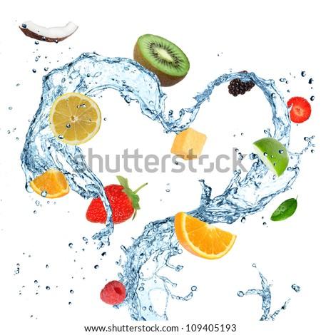 Fruit in water splash heart - stock photo