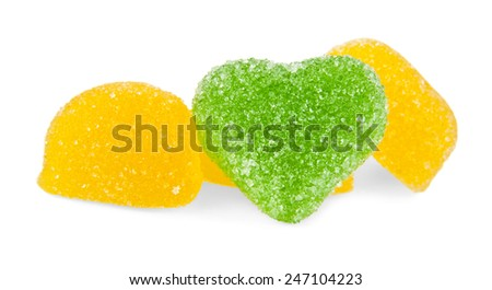 fruit jellies hearts on a white background - stock photo
