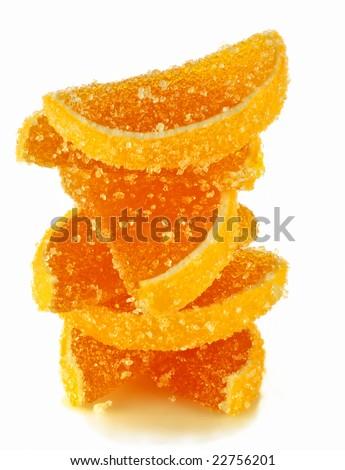fruit jellies in form citrus lobules in orange tones - stock photo