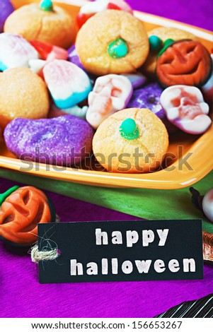 fruit jelly candies for the holiday Halloween and black label   - stock photo