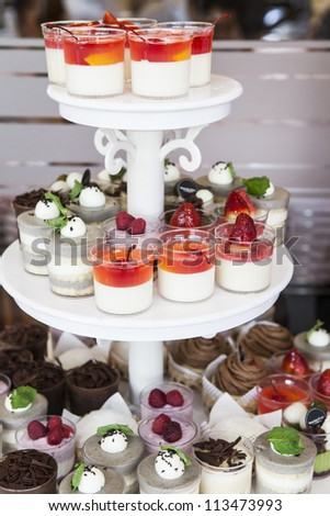 fruit jelly in glasses - stock photo