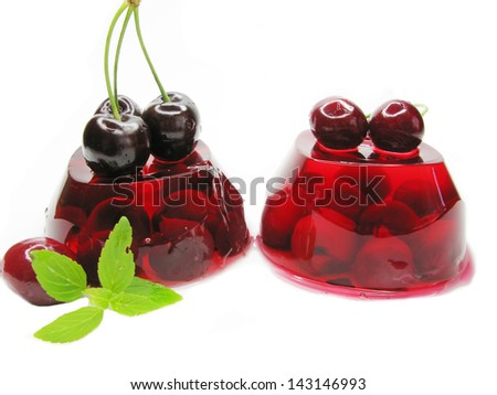 fruit jelly marmalade dessert with cherry - stock photo
