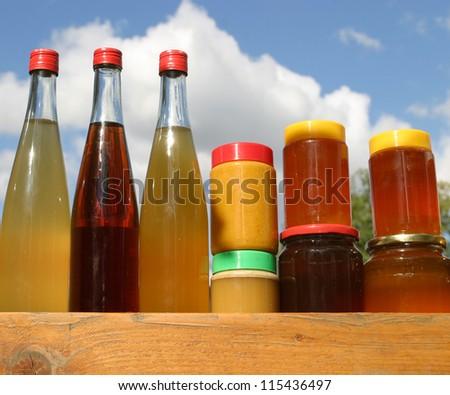 Fruit juice and honey - stock photo