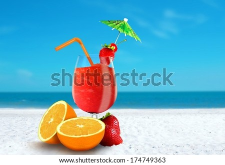 Fruit Juice at The Beach - stock photo